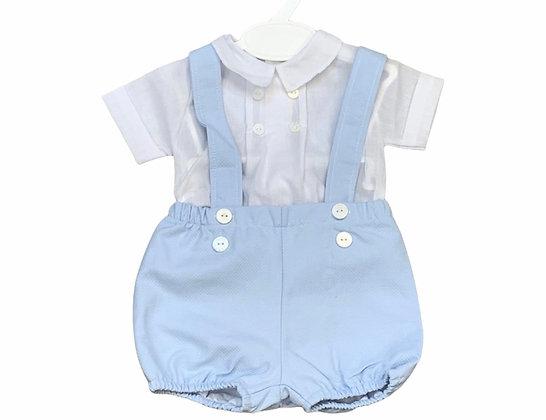 Baby Boy's White & Blue Shorts &  Shirt Set