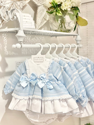 Baby Girls Blue stripe Puffball dress & pants set