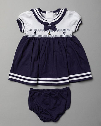 Baby Girls Smock Sailor Set Navy