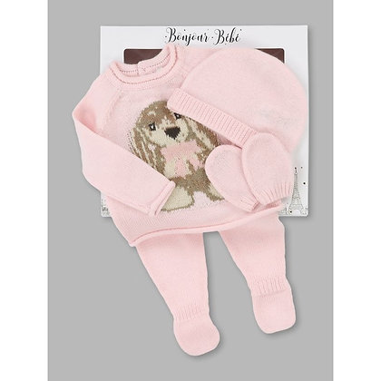 Baby Pink Bunny 4pc Layette Gift Set NB-6M