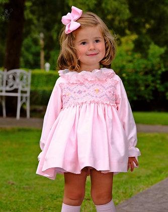 Sonata - Pink Puffball Hand smocked Dress