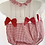 Thumbnail: Baby gingham Bow Romper - RED