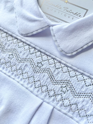 Baby Unisex Embroidered  Smock Babygrow - WHITE/GREY