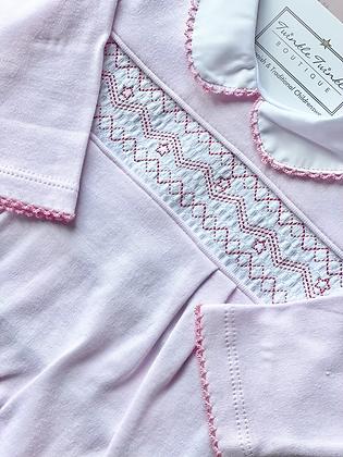 Baby Girls Embroidered  Smock Babygrow - PINK