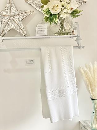 Baby Spanish Lace Trim Shawl/Blanket - WHITE