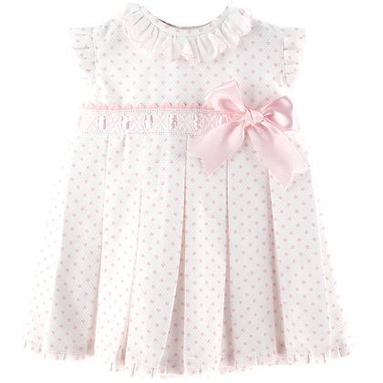 Baby Ferr -Pink Bow Spotty Dress