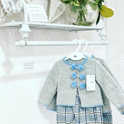 Boy Grey Pom Pom Jacket Set - Blue