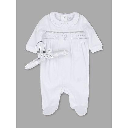 Baby velour Smock Teddy white Sleepsuit NB-9M - Unisex