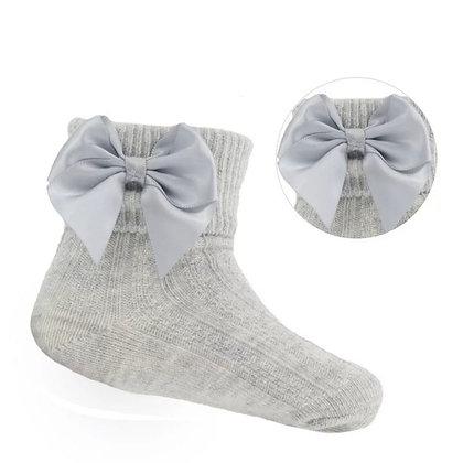 Baby Girls Ankle  Bow Socks - GREY