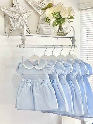 Girls Smcok Bow Blue & White Dress 3m -3yrs