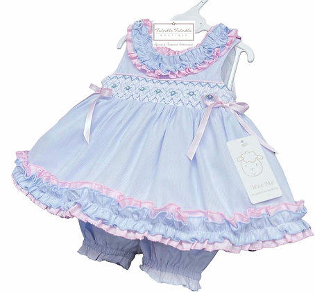 Smock Frill Dress & Bloomers set - BABY BLUE & PINK