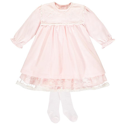 Emile et Rose  - Pink Lace Dress and Tights Set