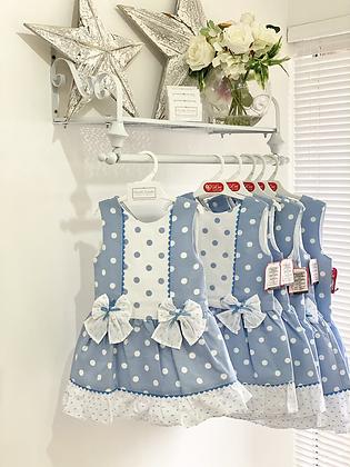 Del Sur - Girls Blue spotty Dress