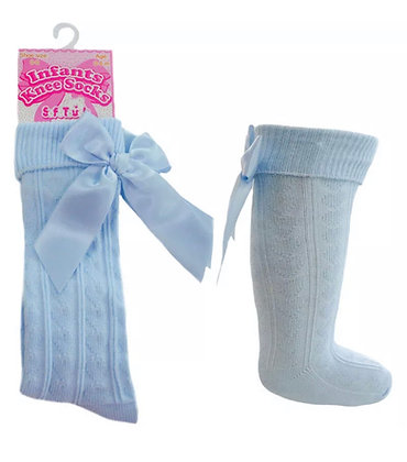 Bow knee high socks - BABY BLUE