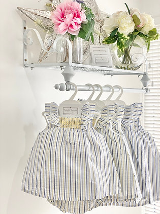 Baby Girls Lemon Smock Pin Stripe Dress set