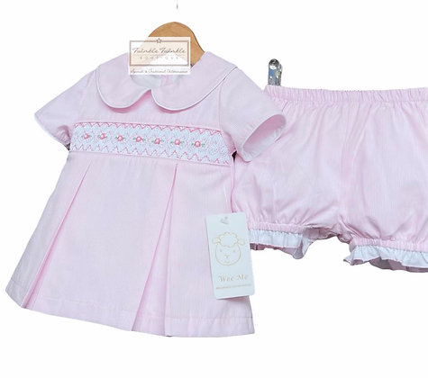 Baby Girls Pink Smock Dress Set