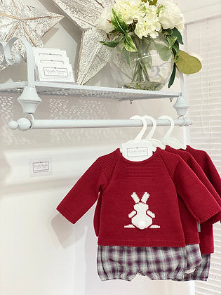 Boys Bunny Pom Pom Set - RED