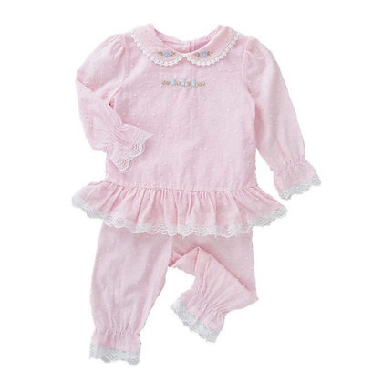 Swiss Dot PINK Cotton  Pyjama set with Embroidered Bunnies