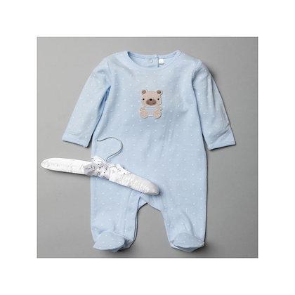 Baby Blue Polka Teddy Sleepsuit 0-9
