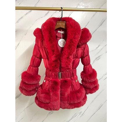 Girls Coat faux Fur - RED