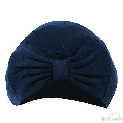 Navy Cotton Turban Bow Hat 0-6M
