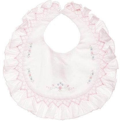Sarah Louise - WHITE Smocked Baby bib