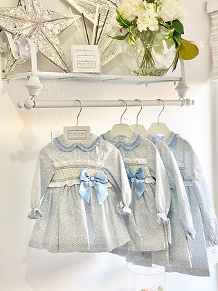 Girls Blue Smock Bow Dress