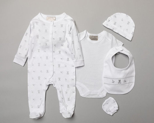 Unisex Baby 5 piece White/grey Gift set with Gift bag