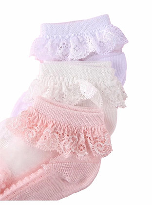 3 Pair's of  Frilly Ankle Transparent  Socks