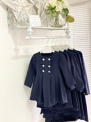 Girls silver Button Dress 1y-12y - NAVY