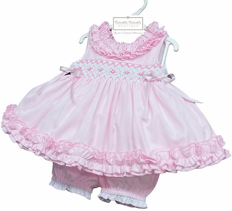 Smock Frill Dress & Bloomers set - BABY PINK