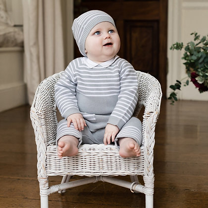 Emile et Rose-Grey Stripe Knit Outfit with Hat