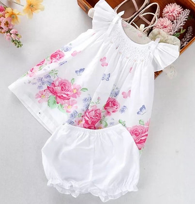 Floral  Handsmocked 2 Piece Set