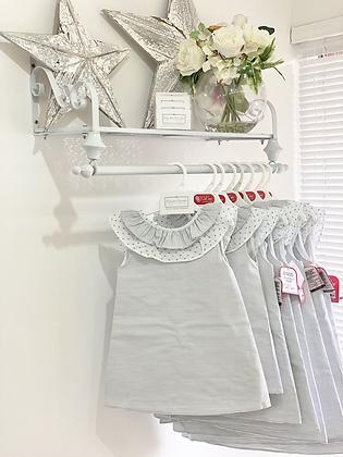 Del Sur - Girls White & Grey  Dress