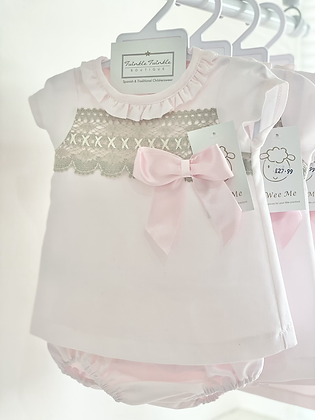 Wee me - Girls  Pink Dress set With Camel lace Detail
