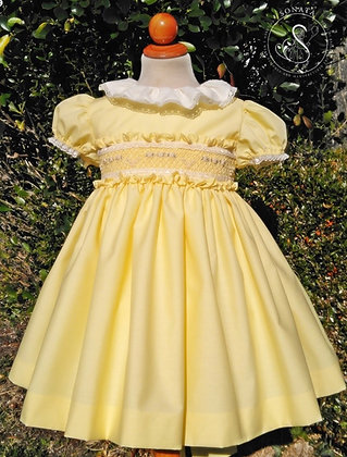Sonata - Lemon puffball Smock Dress