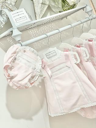 Girls Pink & White Dress & Jam Pant set