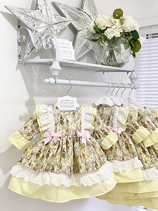 Kinder - Easter Bunny Lemon & Pink Dress