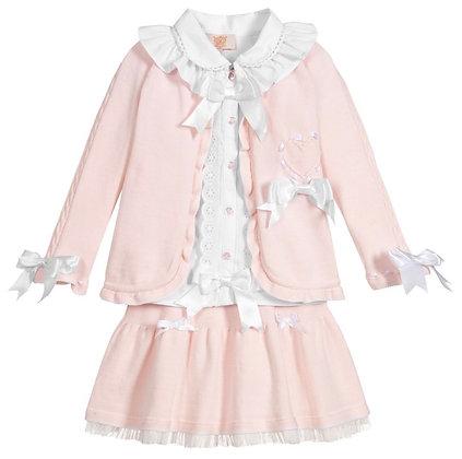 Caramelo - Girls 3 Piece Knit Skirt set - PINK