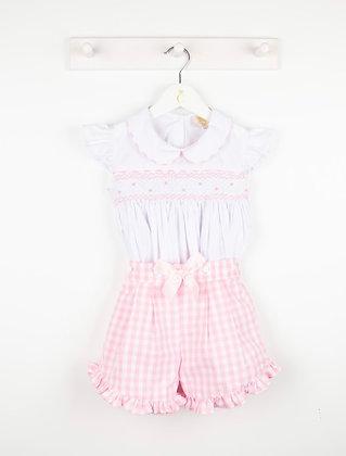 Caramelo kids  - Girls Gingham Smocked Shorts Set - PINK