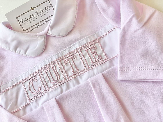 Baby Girls Embroidered Cute Babygrow - PINK
