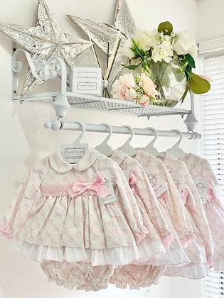 Baby Girls pink & white Rocking Horse  Puffball  Dress & Pants set