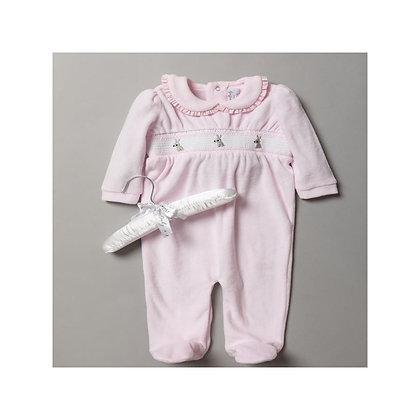 Bunny Velour Sleepsuit 0-9M
