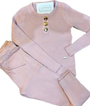 Girls Ribbed Gold Button Loungewear set - Pink