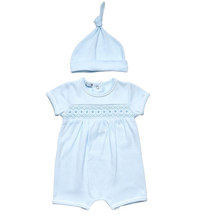 Boys Smock Romper & Hat Set - Blue