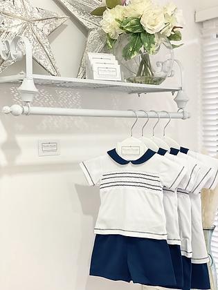 Baby Boy's White & Navy  Smock Shorts Set