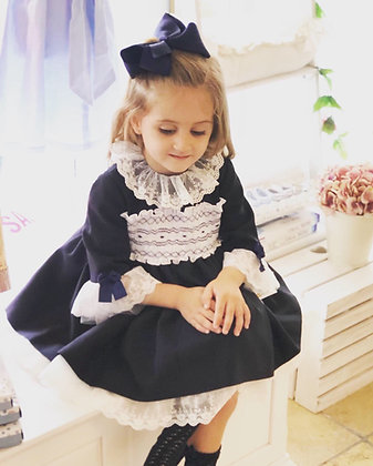 Sonata - Smocked Puffball Lace Dress - NAVY