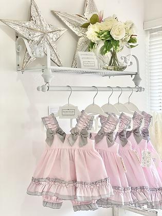 Linen Dress Set- PINK/GREY