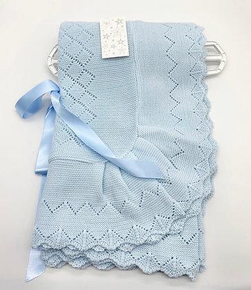 Baby Spanish shawl/Blanket - BLUE