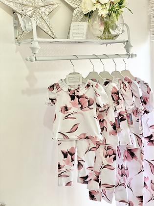 Girls Floral Frill Lougewear set - DUSKY PINK